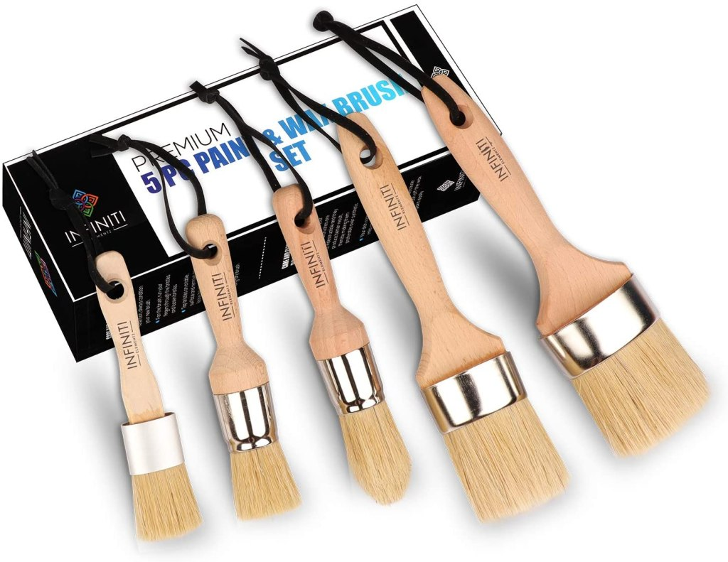 PROFESSIONAL CHALK AND WAX PAINT BRUSH 5PC Master SET!!!! Large DIY Painting and Waxing Tool | Smooth, Natural Bristles | Folk Art, Home Décor, Wood Projects, Furniture, Stencils | Reusable