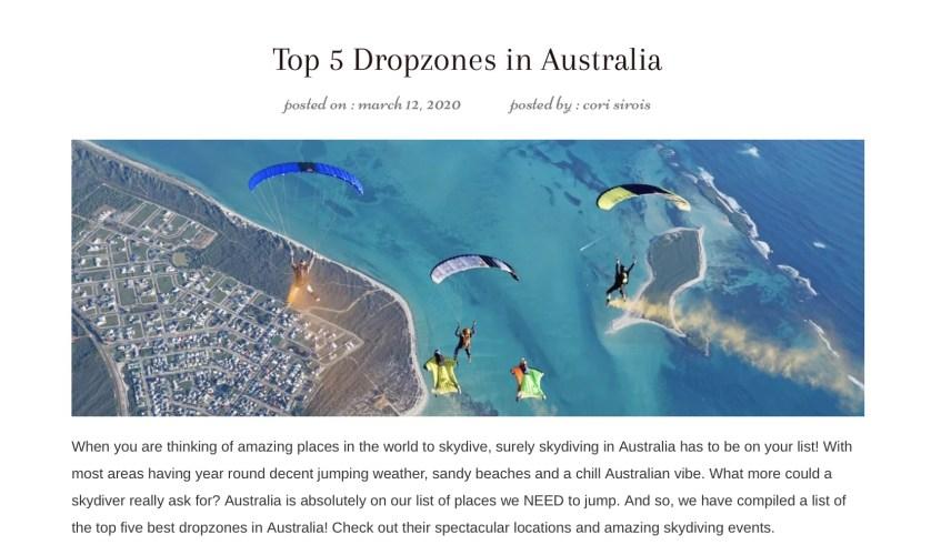 Top 5 best dropzones in Australia