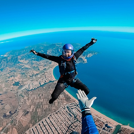 Skydiving jump over Empuriabrava with Colorful Jerseys