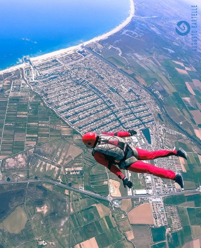 skydiving tracking over the Colorful Jerseys house, Empuriabrava
