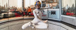 Yoga position flying in the wind tunnel
