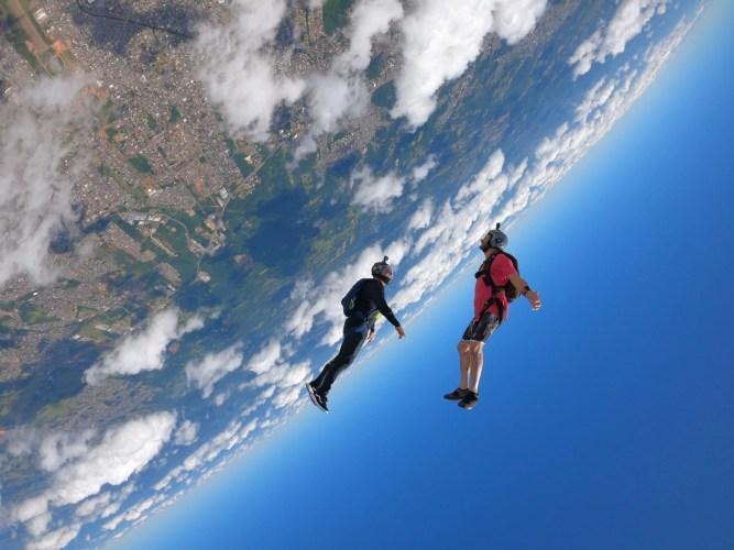 Angle Jump shot with two skydivers at CGP.