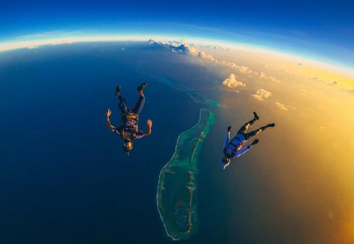 Maldives sunset skydiving jump with Andy Malchiodi