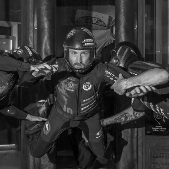 Hayabusa Skydiving Team Training in the wind tunnel