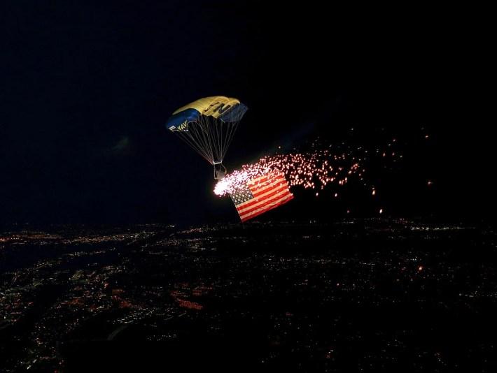 Parachute flying at night
