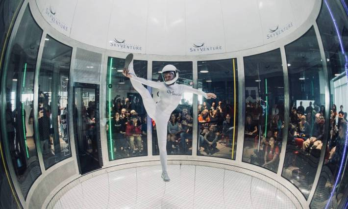 Coralie at SkyVenture Montreal wind tunnel training