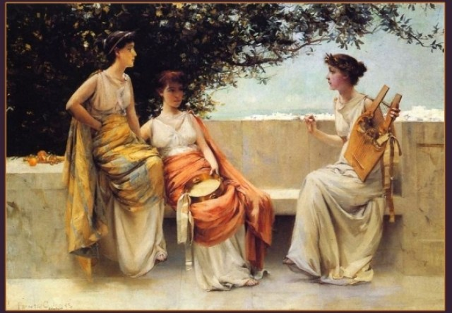 "Sappho with Lyre and girls. Artwork ""Sappho"" created by Francis Coates Jones"