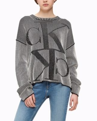 Calvin Klein Two Tone Monogram Jumper Black