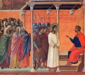 Jésus devant Pilate, Duccio di Buoninsegna (14° s.)