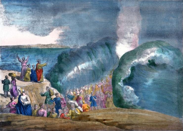 Le passage de la mer Rouge par les Hébreux, gravure de la fin du XIXe