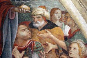 Raffaellino del Garbo, Multiplication des pains et des poissons, 1500 (détail)