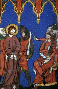 Comparution devant Pilate, Livre d'images de Madame Marie, XIII°s.