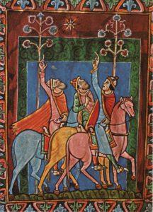 Les mages et l'étoiel, Psautier de St-Alban, 1130