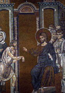 Christ guérissant un homme à la main sèche, mosaïque Byzantine, Cathedrale de Monreal