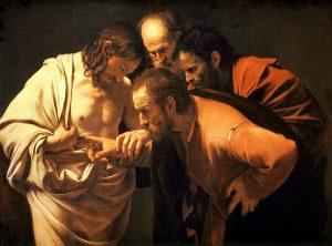 Le Caravage, l'incrédulité de thomas, 1601