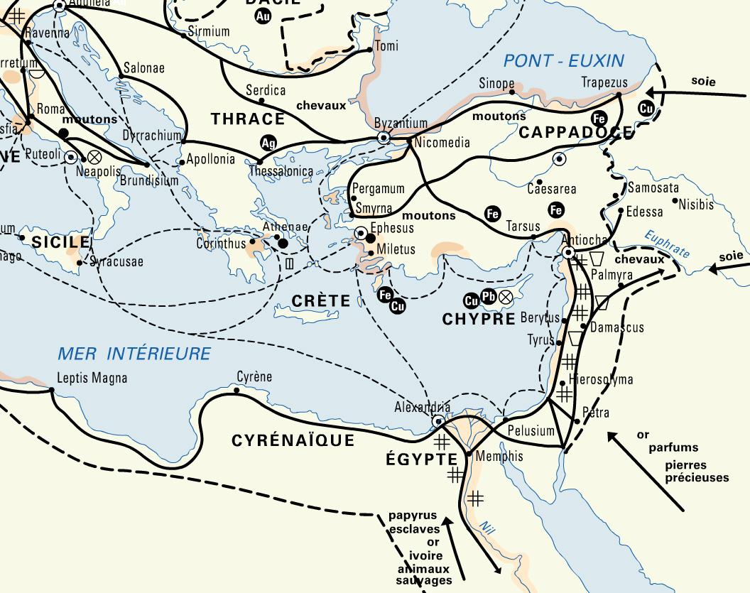Routes commerciales terrestres et maritimes dans l'empire romain