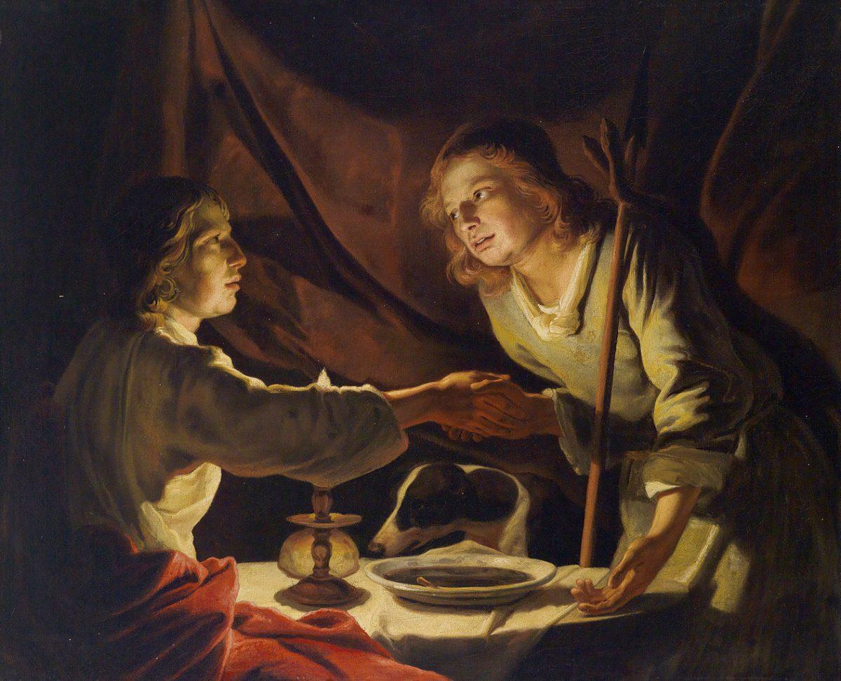 Matthias Stomer, Jacobet Esau, XVII°s.