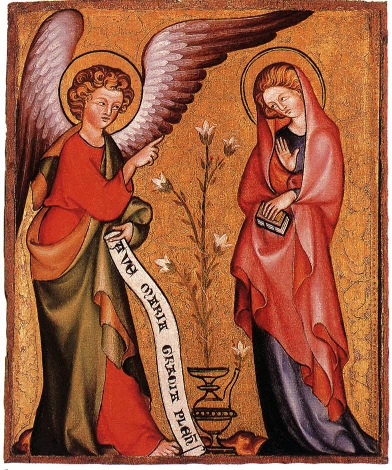 Annonciation à Marie, Anonyme, XIV°s.