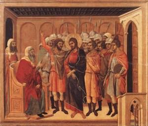 Duccio di Buoninsegna, Le Christ devant Hanne, 1311