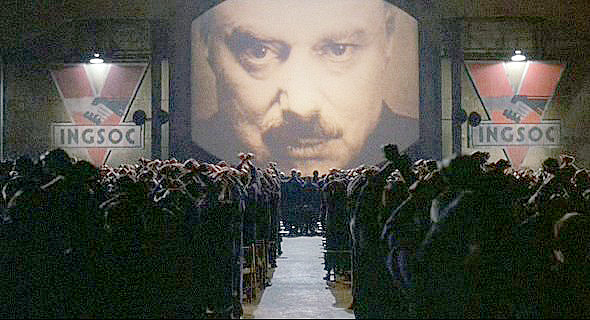 The image of Big Brother is displayed before a crowd
