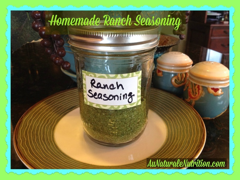 Easy homemade ranch seasoning with simple, healthy spices and no chemical additives! YUM!  By Jenny at www.AuNaturaleNutrition.com