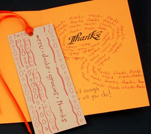 Decorate back of bookmark and add message inside card