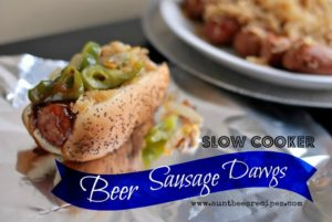 Slow Cooker Beer Smoked Sausage Dawgs | Aunt Bee's Recipes