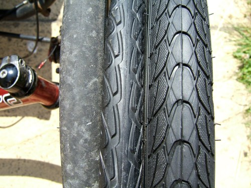 Left to right: Panaracer Minits Tough; Schwalbe Marathon; Schwalbe Marathon Plus