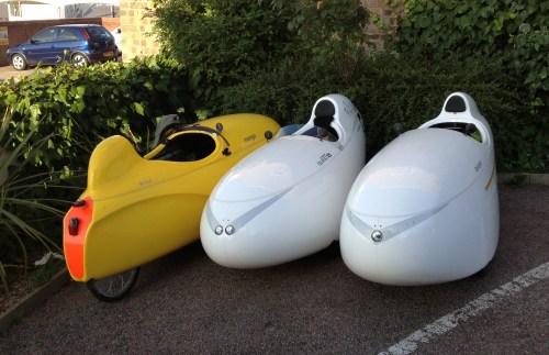 Three velomobiles