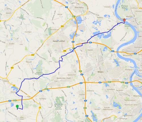 Outward journey track