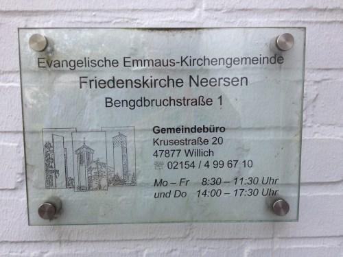 Friedenskirche Neersen Sign