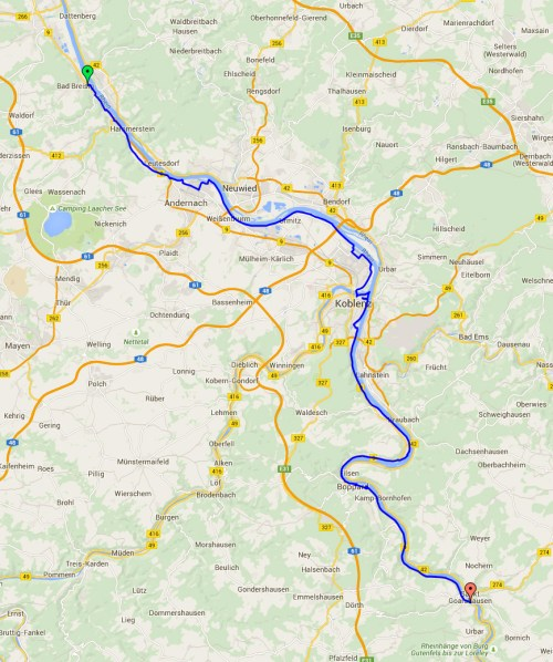 Bad Breisig to St Goar map