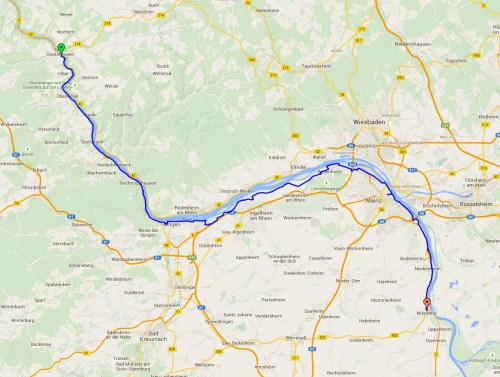 St Goar to Nierstein map