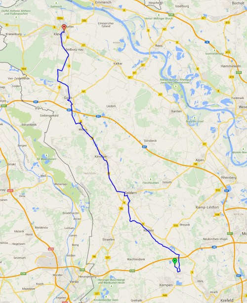 Kleve trip map