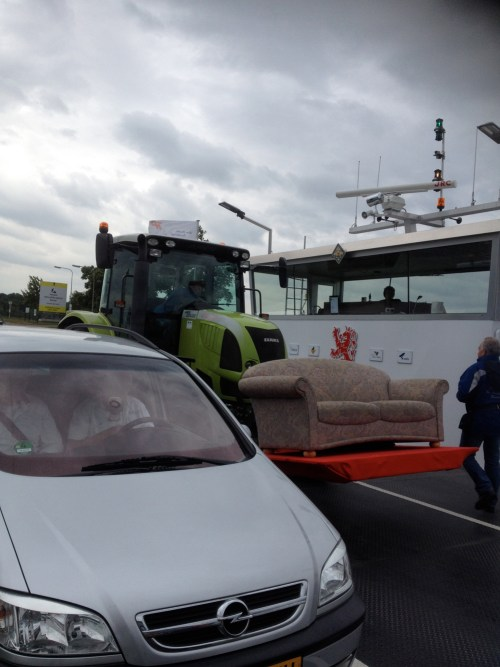 Tractor with sofa