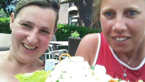 Claudia and Helen and salad