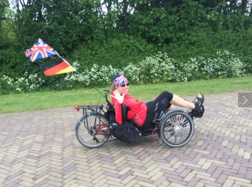 Helen cycling with Kajsa