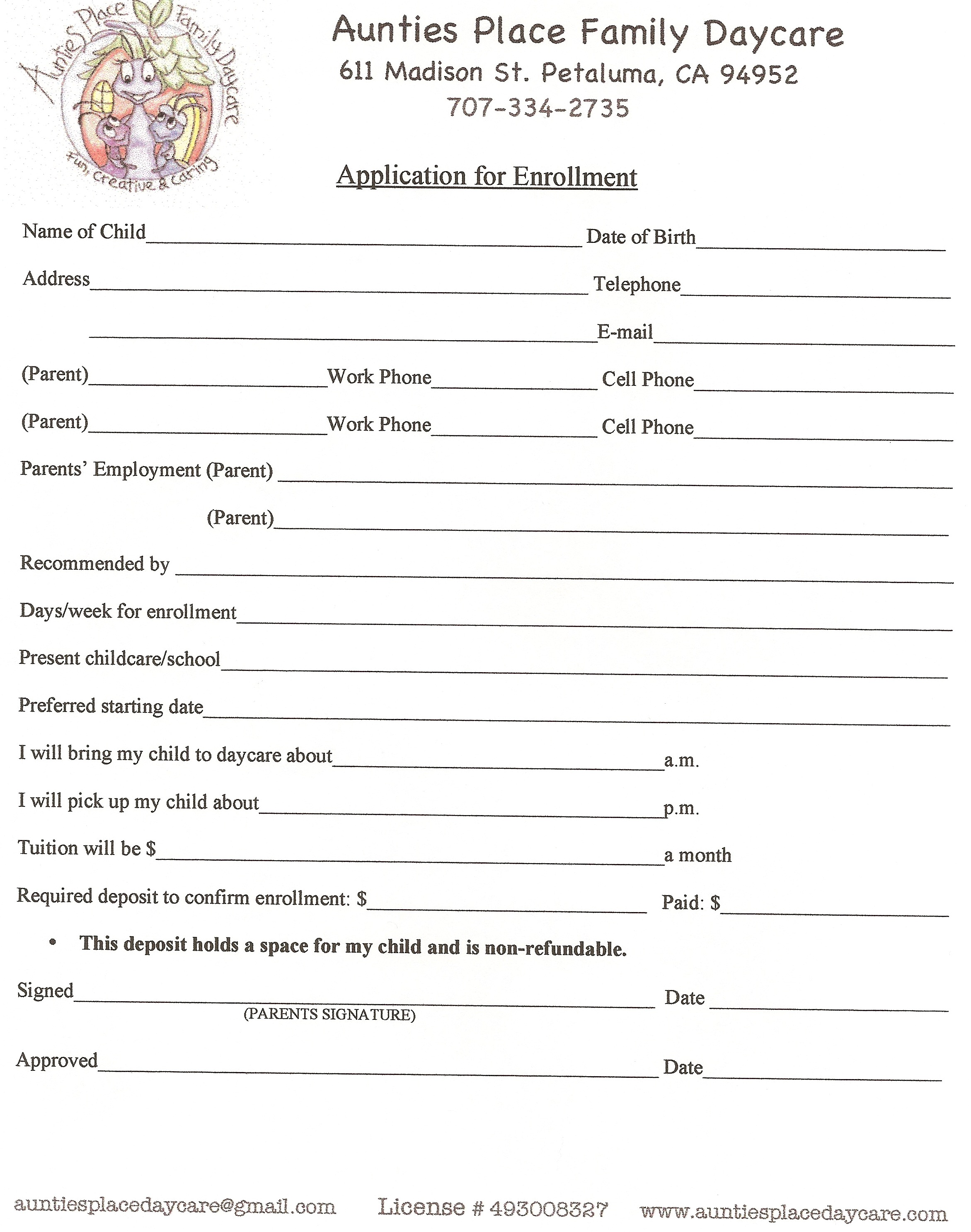Printable Daycare Applications