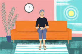 woman on sofa illustration