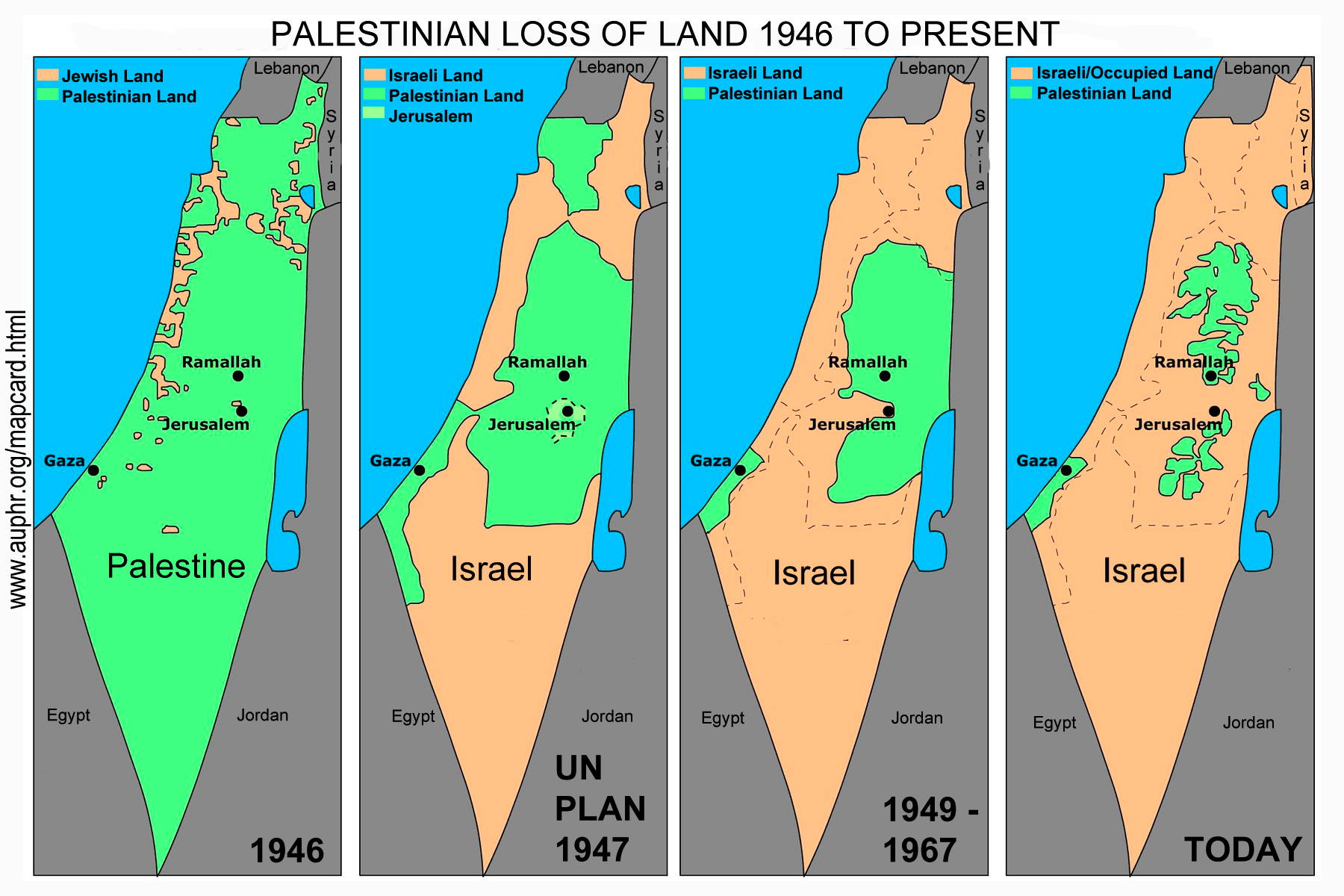 Map Card Of Disappearing Palestine