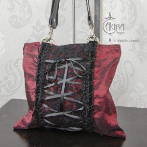 Sac gothique dentelle et taffetas rouge, sac à main modulable - zoom