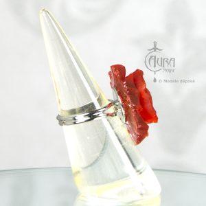 Bague rétro fleur - pin-up - rockabilly Llorona - rouge - côté