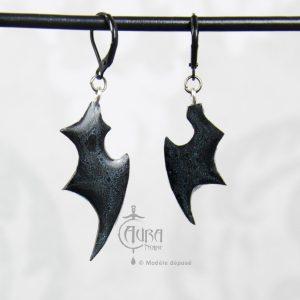 Boucles d'oreilles ailes chauve souris occulte - gothique seih - noir irisé - dos