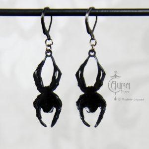 Boucles d'oreilles araignée crâne gothique / occulte - noir - dos