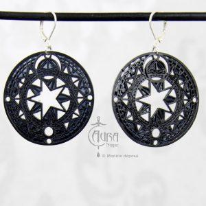 Boucles d'oreilles cercle magique occulte / gothique seih - noir - face