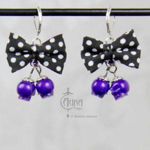 boucles d'oreilles psychobilly nœud noir à pois et duo de tête de mort - violet - dos