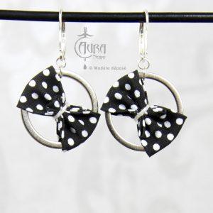 Boucles d'oreilles pin-up nœud à pois sur anneau Mutu - noir -dos