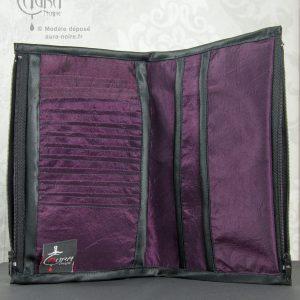Portefeuille porte-monnaie gothique en dentelle et taffetas Aura Noire - intérieur