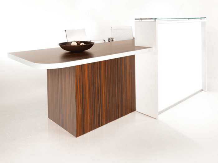 Ophelia 1 – Natural Dijon Walnut Reception Desk with Wheelchair Access Unit