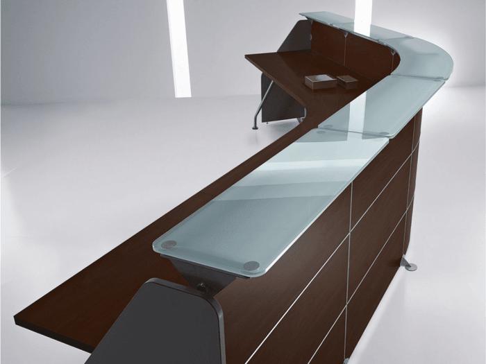 Benito 10 – Reception Desk in Dark Oak with Glass Shelf Top